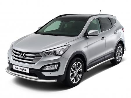 Защита порогов d63мм Hyundai Santa Fe (нерж) 2013